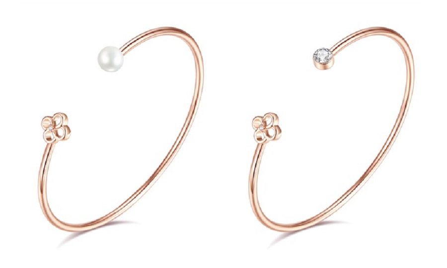 vermail rose gold bangle with flower 14K