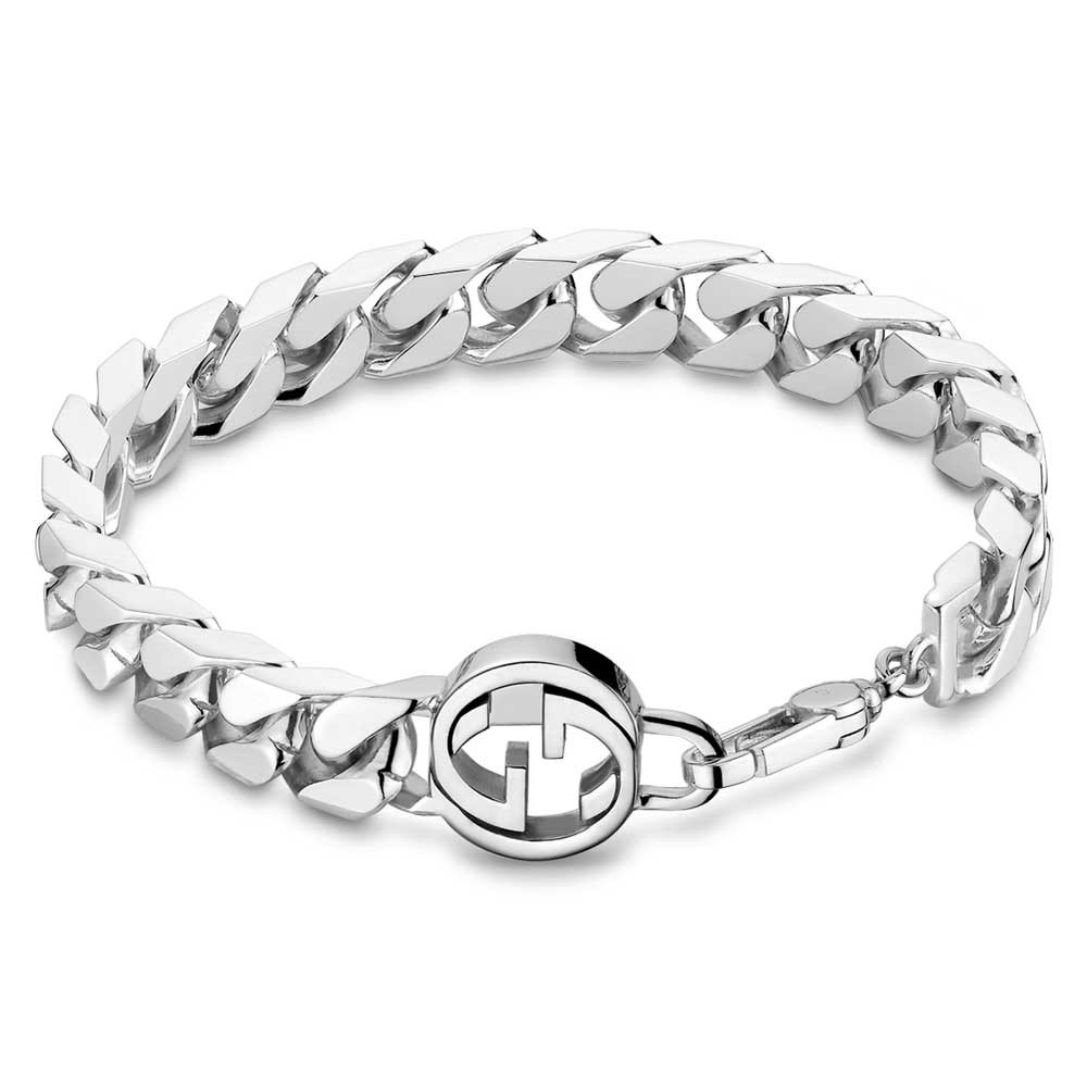 solid silver charm bracelet for men