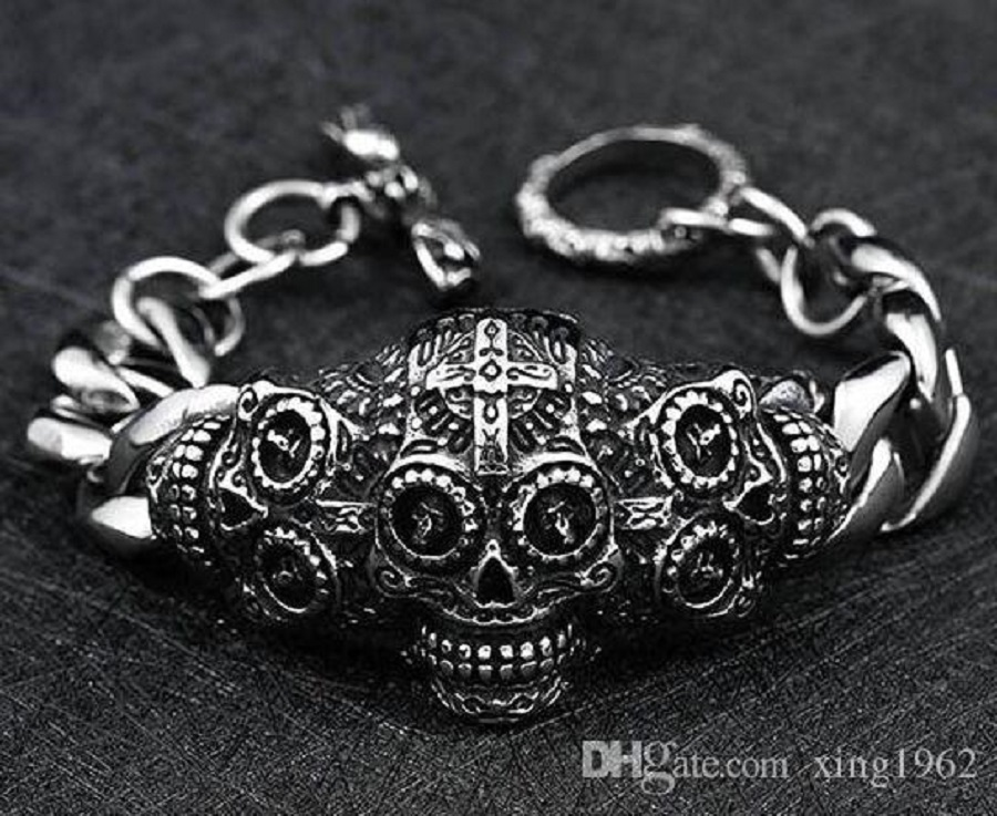 Men silver charm bracelet for hobbies