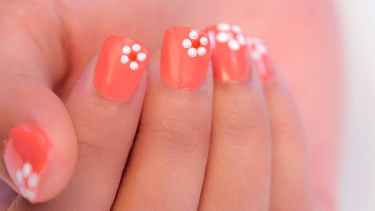 it's a picture of simple nail designs with flower designs