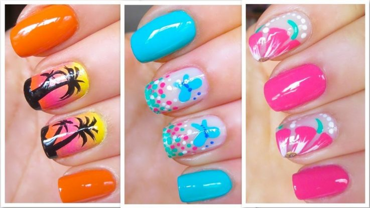 Colorful Cute Nail Art Design for Summer Wedding