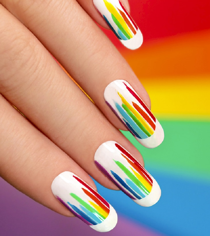 Easy Curvy Stripes Cute Nail Designs Ideas