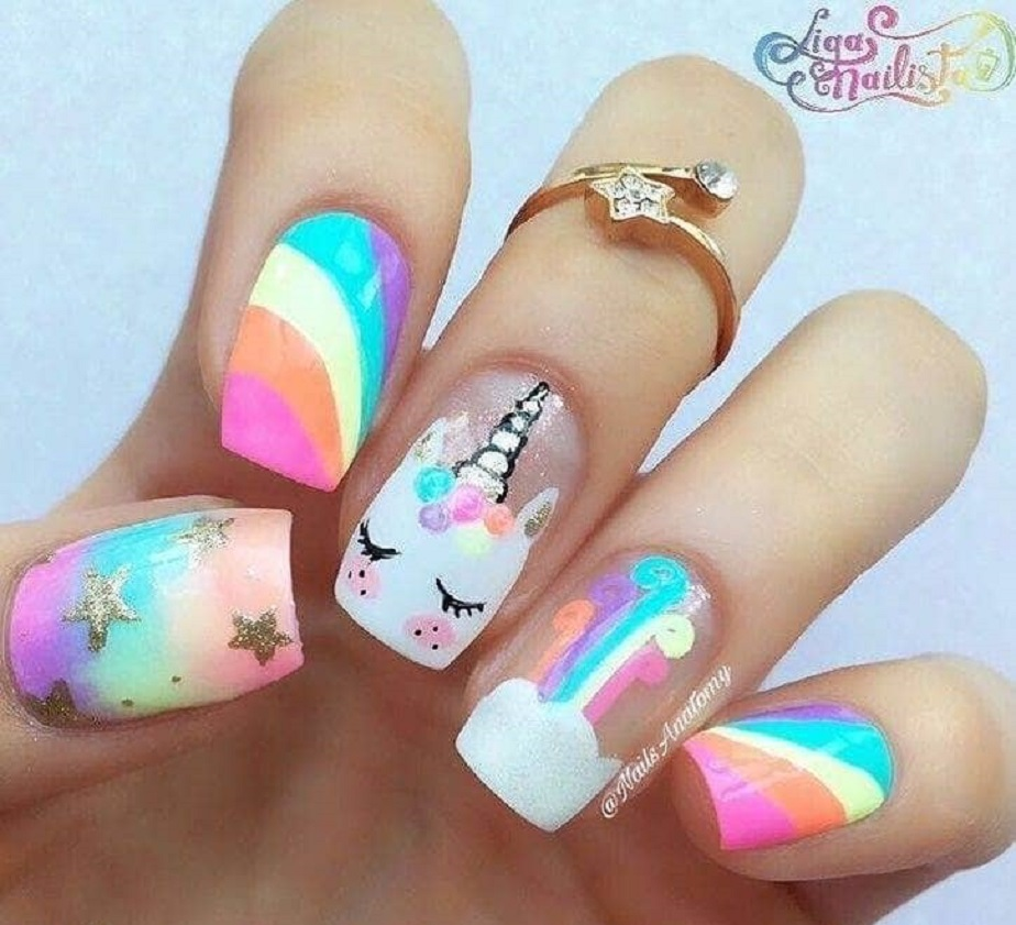 Rainbow Cute Nail Design