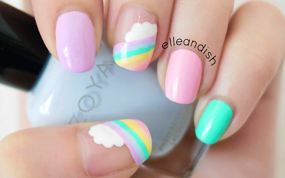 Rainbow Cute Nail Design for Summer
