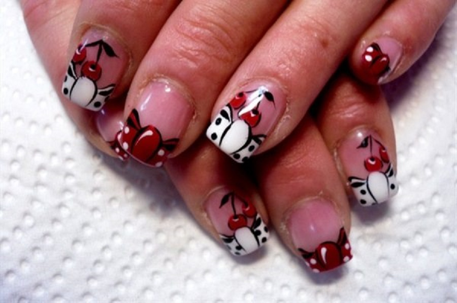 Red Cherry Cute Nail Designs for short nail