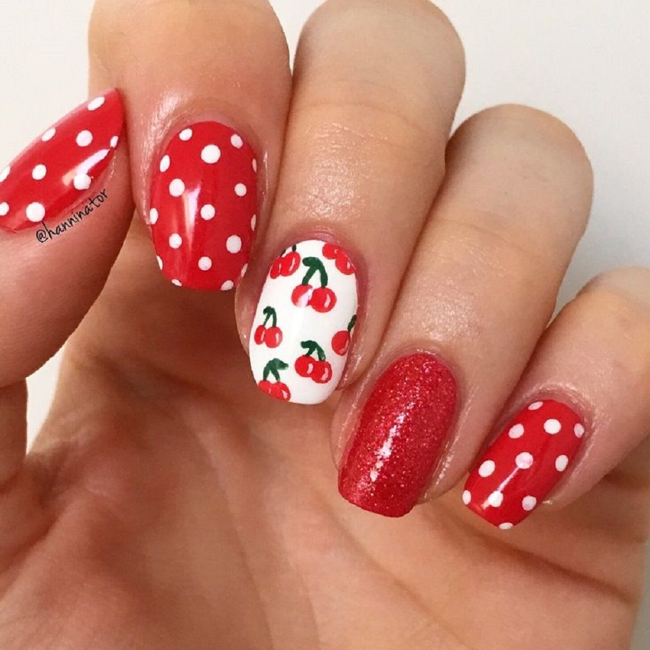 Strawbery Red Cherry Cute Nail Designs