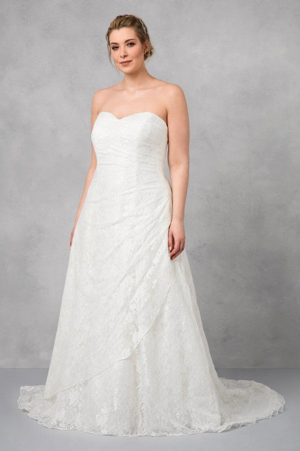 A Line Wedding Dress Plus Size Satin