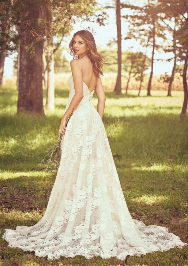 A Line Wedding Dress Strapless Lace