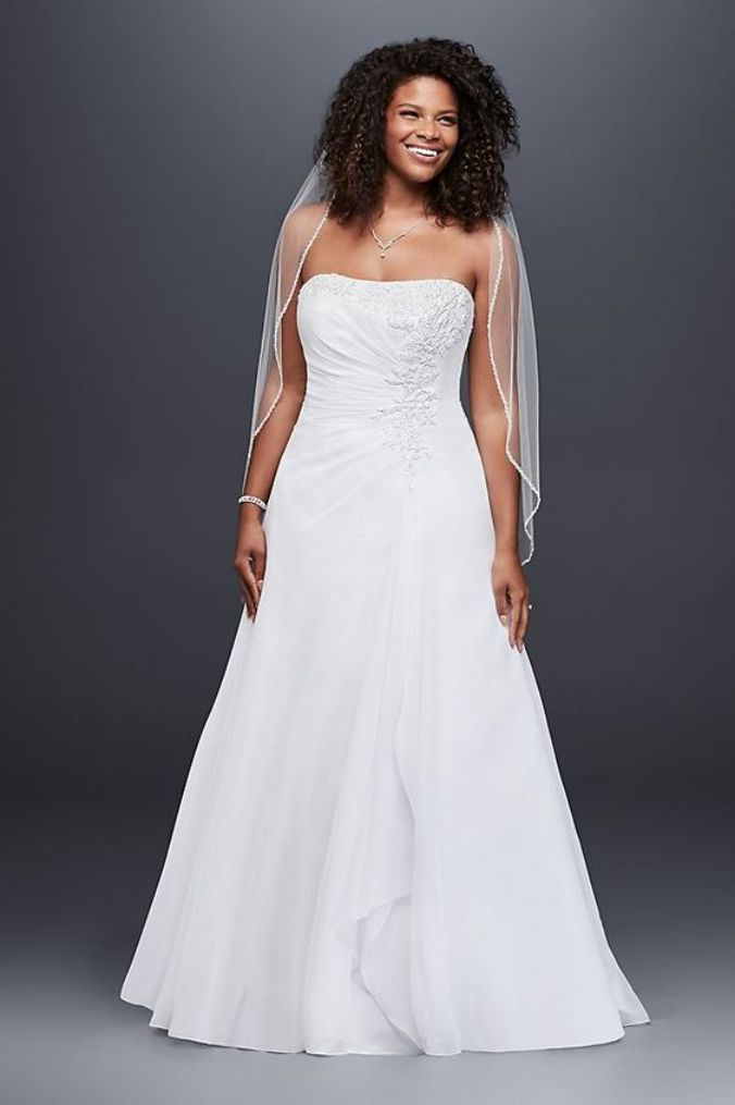 A Line Wedding Dress Strapless Simple Chiffon Side Drive