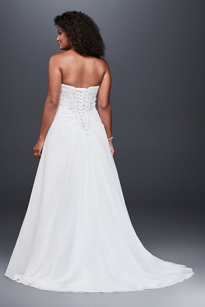 A Line Wedding Dress Strapless Simple