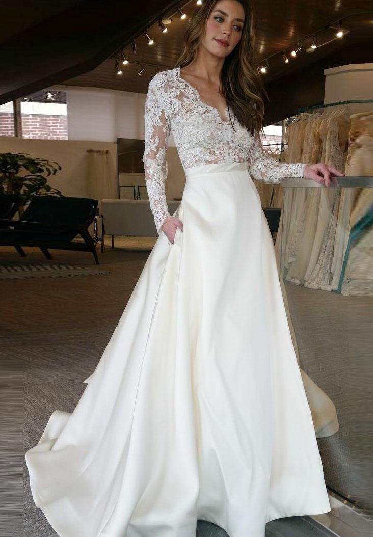A Line Wedding Dresses With Sleeves Lace