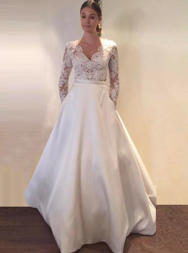A Line Wedding Dresses With Sleeves Romantic