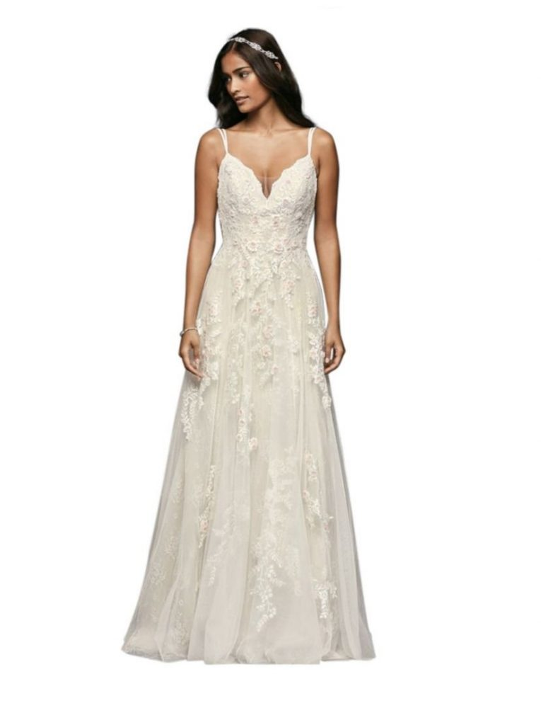 A Line Wedding Dresses With Straps Romantic