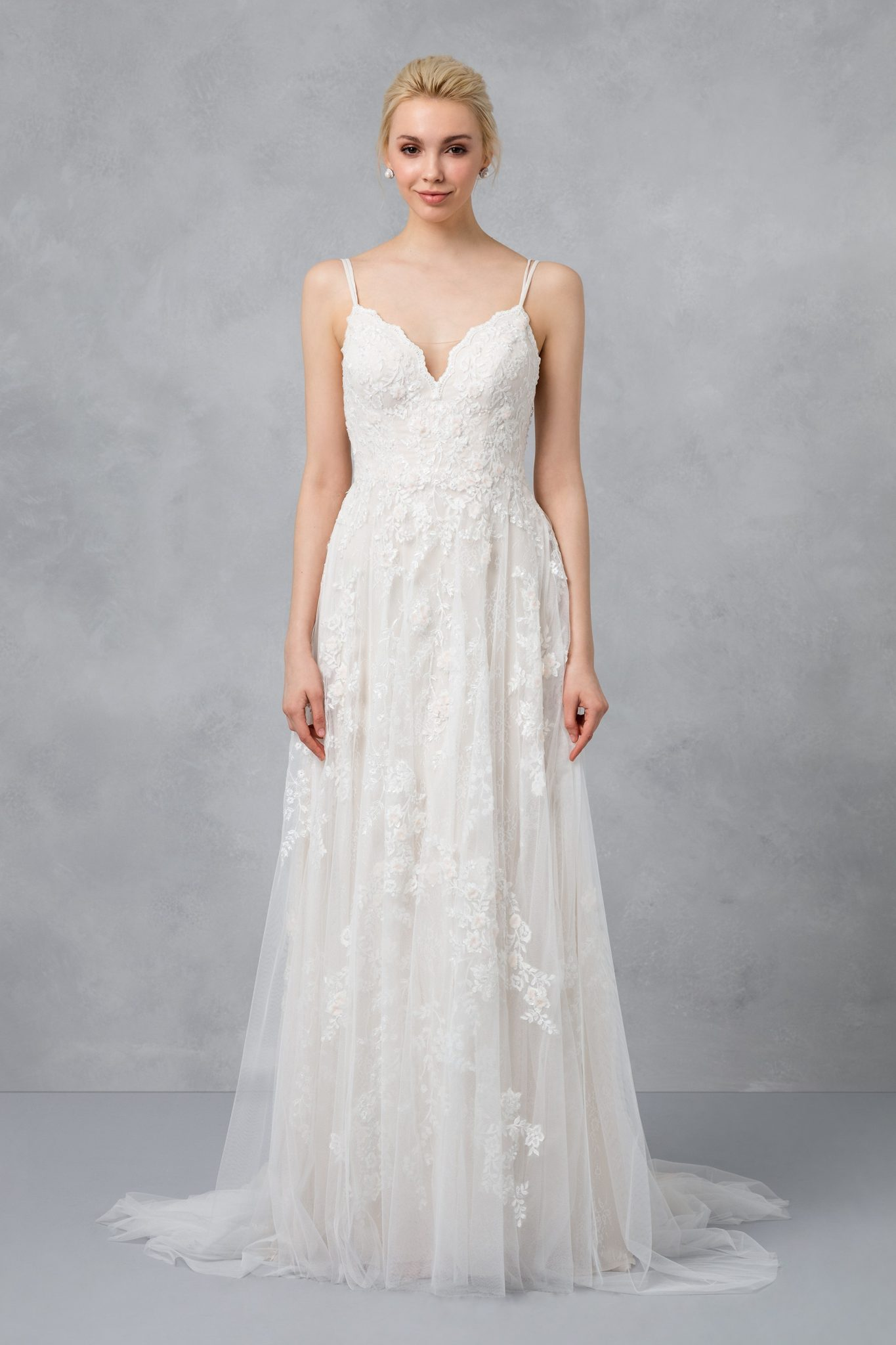 A Line Wedding Dresses With Straps Spaghetti