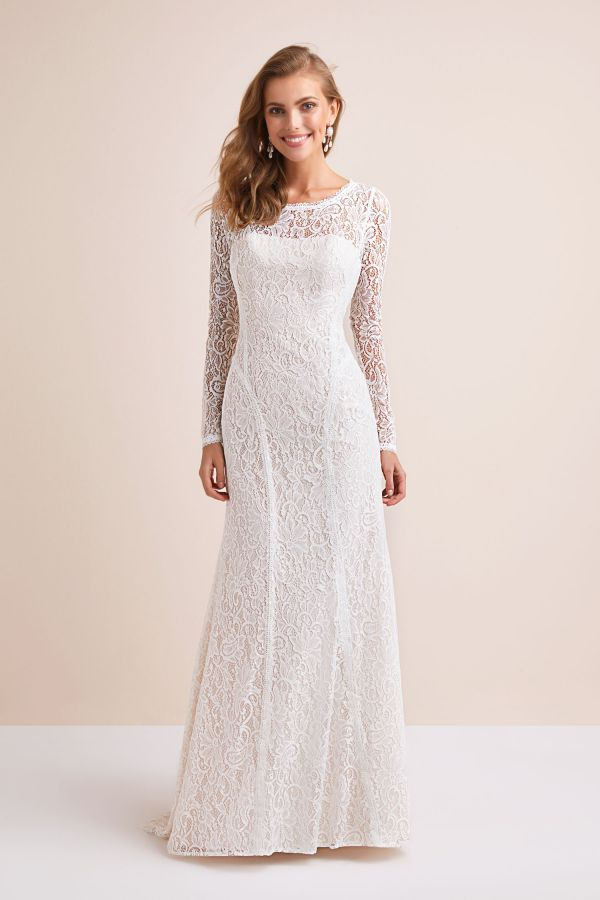 Allover Lace Long Sleeve Sheath Wedding Dress