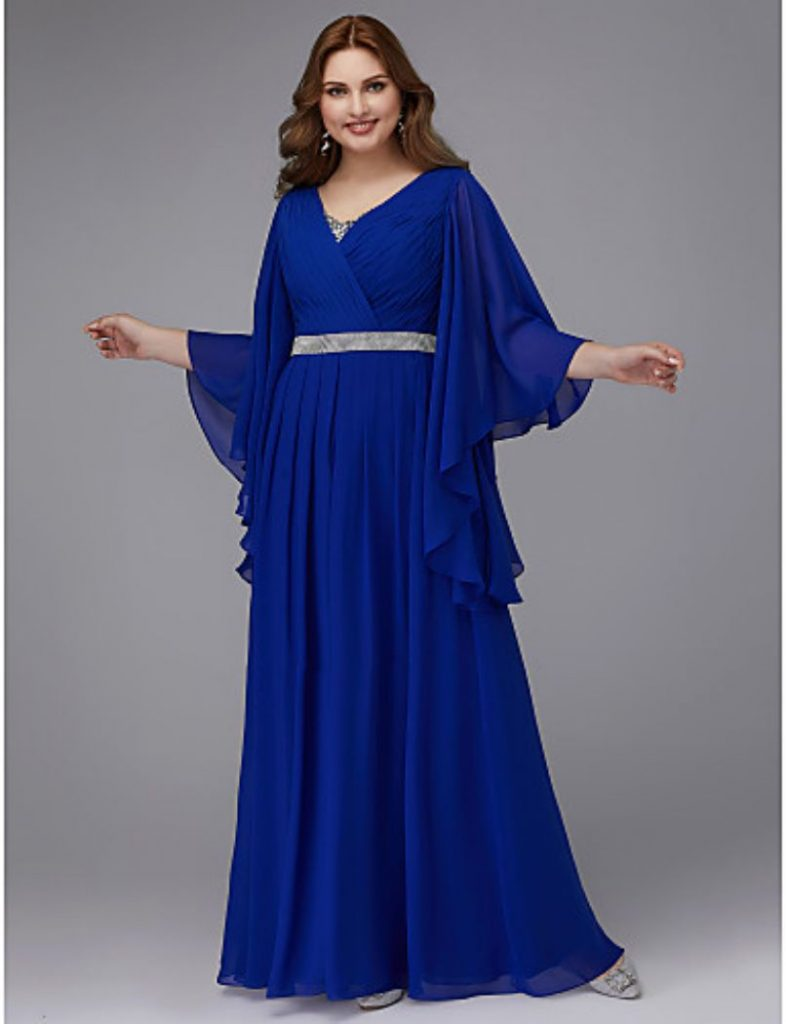 Asymmetrical Cape Gown floor length plus size