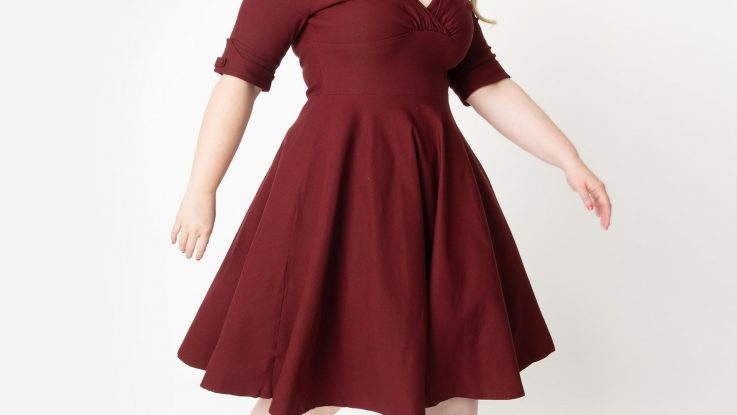 Asymmetrical Hem Dress in Burgundy Plus Size Bridesmaid Dresses