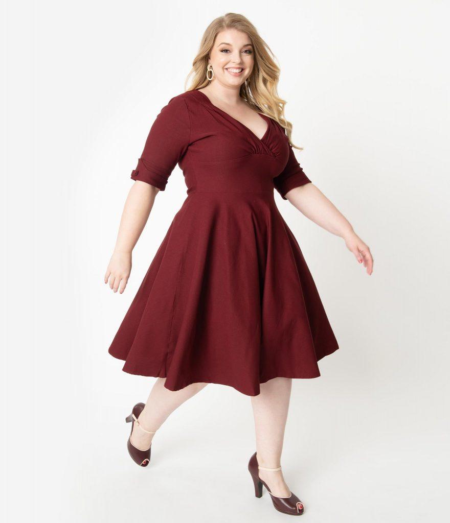 Asymmetrical Hem Dress in Burgundy Plus Size Bridesmaid Dresses