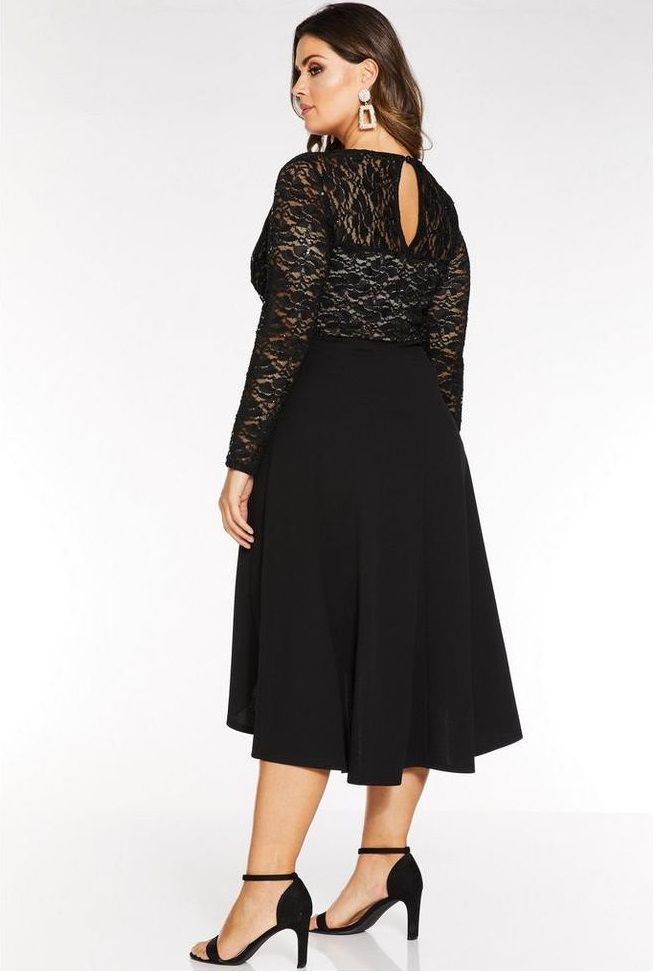 Awesome Plus Size Evening Dress Black Sequin Lace Long Sleeves Dip Hem Dress