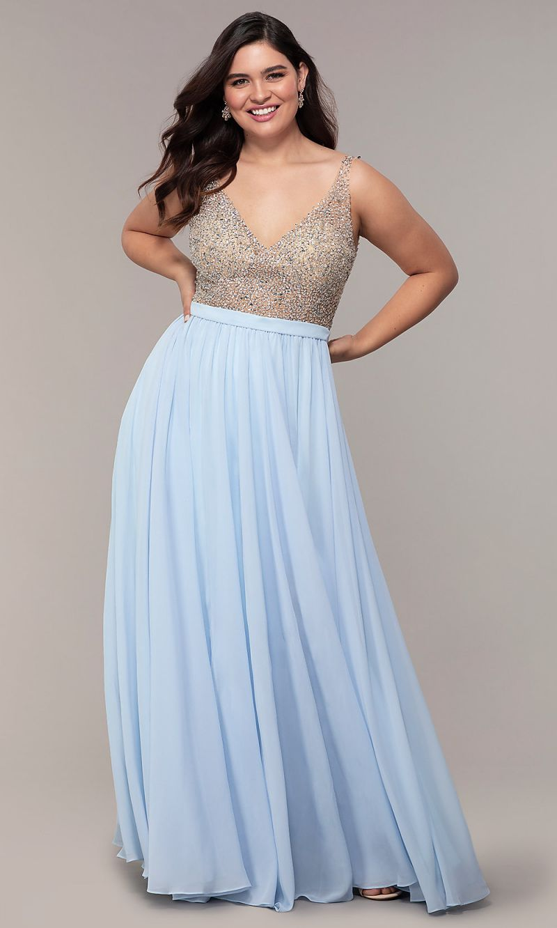 Beaded V Neck Gown Plus Size