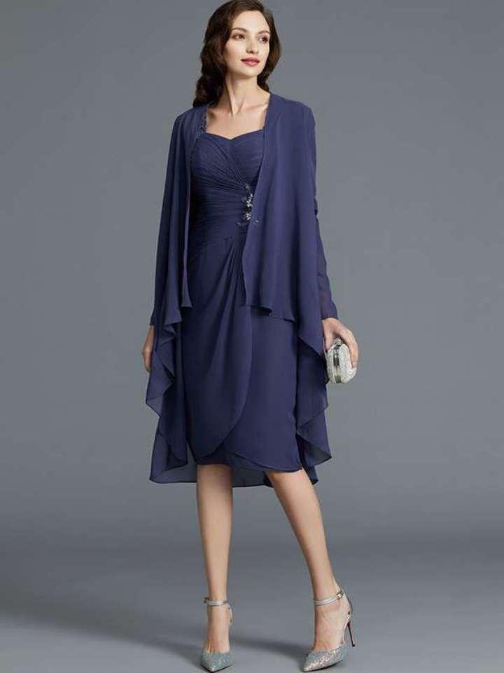 Beautiful Chifon Navy Blue Mother of the Bride Dresses Tea Length