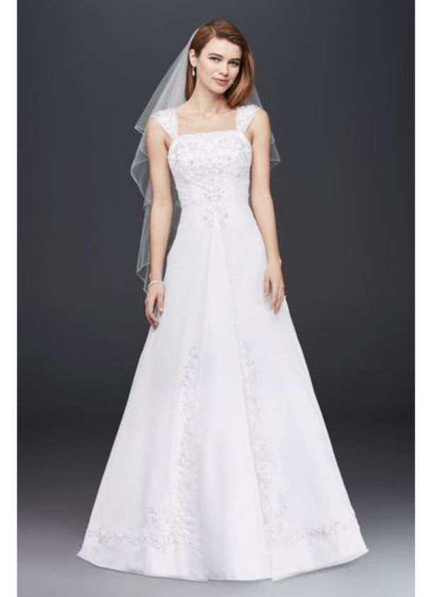 Beautiful Illusion Sleeve Plunging Wedding Ball Gown