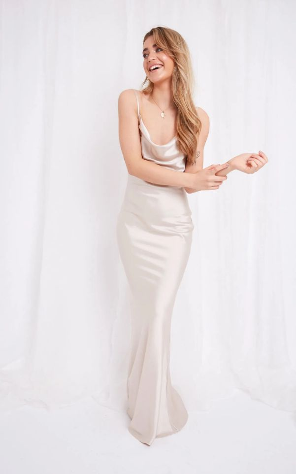 Beautiful Long Summer Dress Champagne Satin Maxi Dress