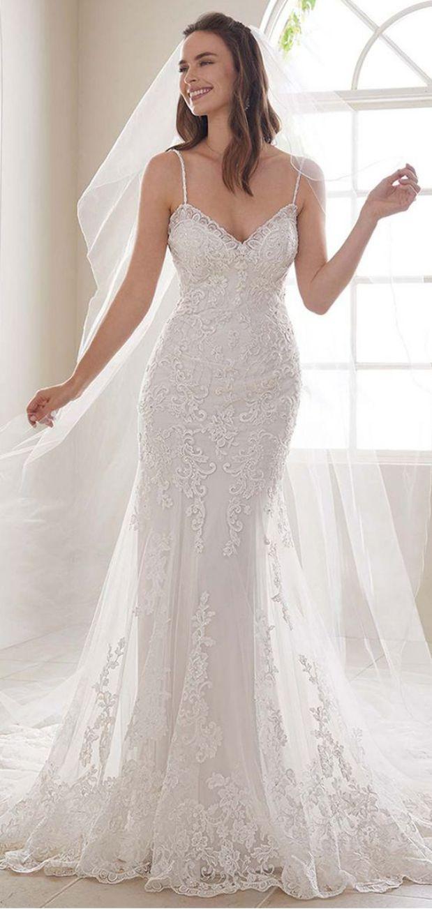 Beautiful Mermaid Wedding Dress With Straps Sparkle