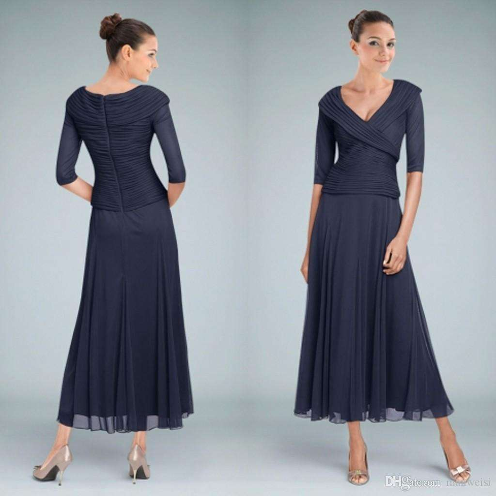 Beautiful Navy Blue Mother of the Bride Dresses Tea Length