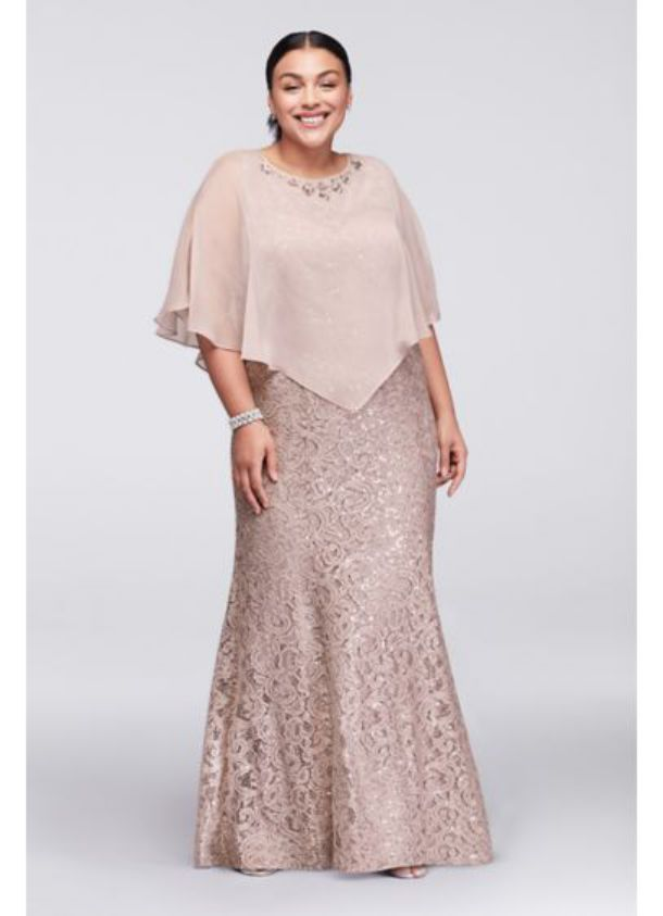 Beautiful Plus Size Special Occasion Dresses Long Lace Plus Size with Beaded Capelet Dress