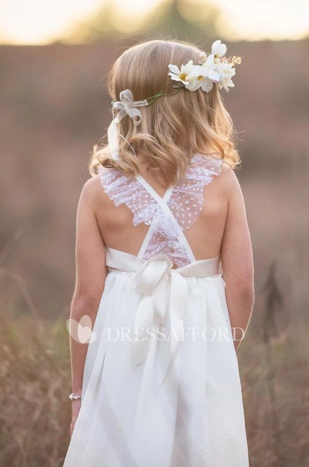 Beautiful Wedding dresses for girls Lace Bow Back Strap Criss Crossed