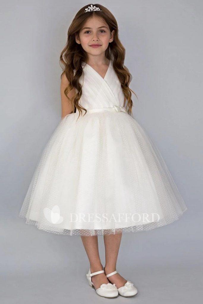 Beautiful Wedding dresses for girls Tiered Tea length V Neckline Satin