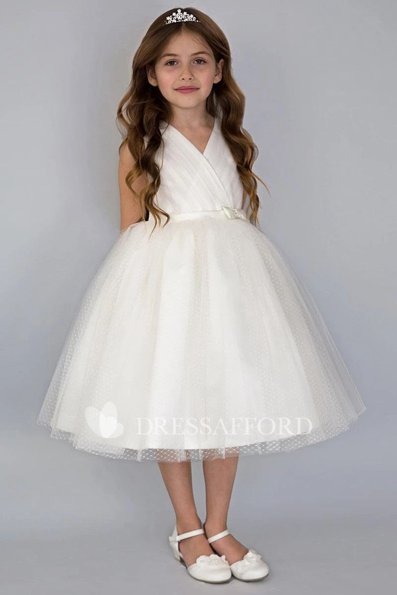 Beautiful Wedding dresses for girls Tiered Tea length V Neckline Satin
