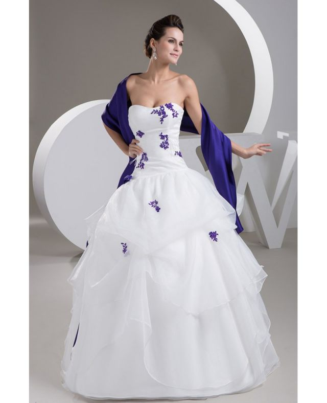 Beautiful White Ivory Purple Floral Lace Wedding Dresses