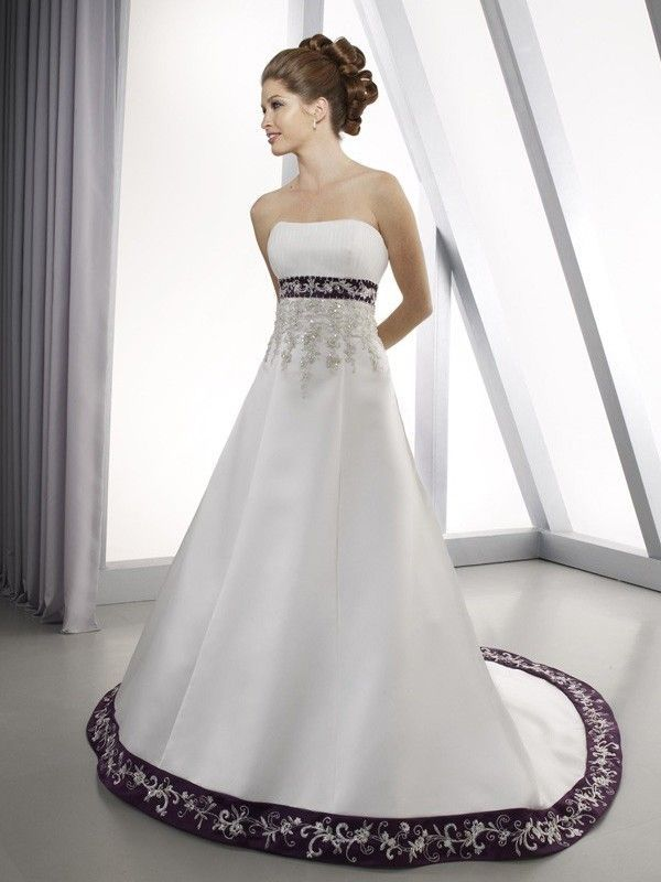 Beautiful White and Purple Embroidery Wedding Dress