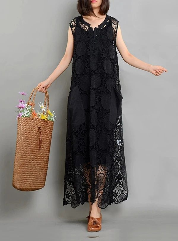 Black Asymmetrical Dress Long Summer Dress