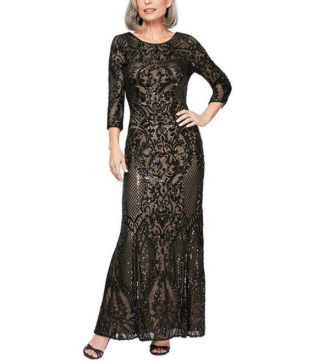 Black Evening Gown Elegant With Sleeves