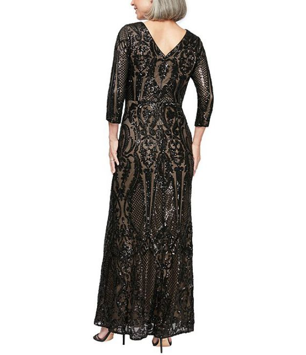 Black Evening Gown Elegant With Sleeves Back Side