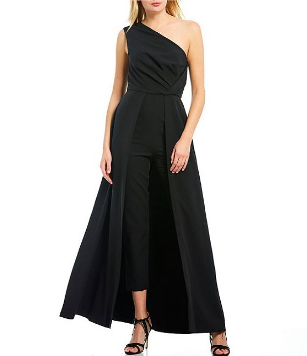 Black Evening Gowns One Off the Shoulder