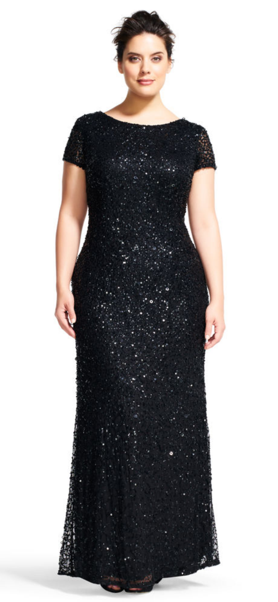 Black Scoop Back Sequin Gown Plus Size