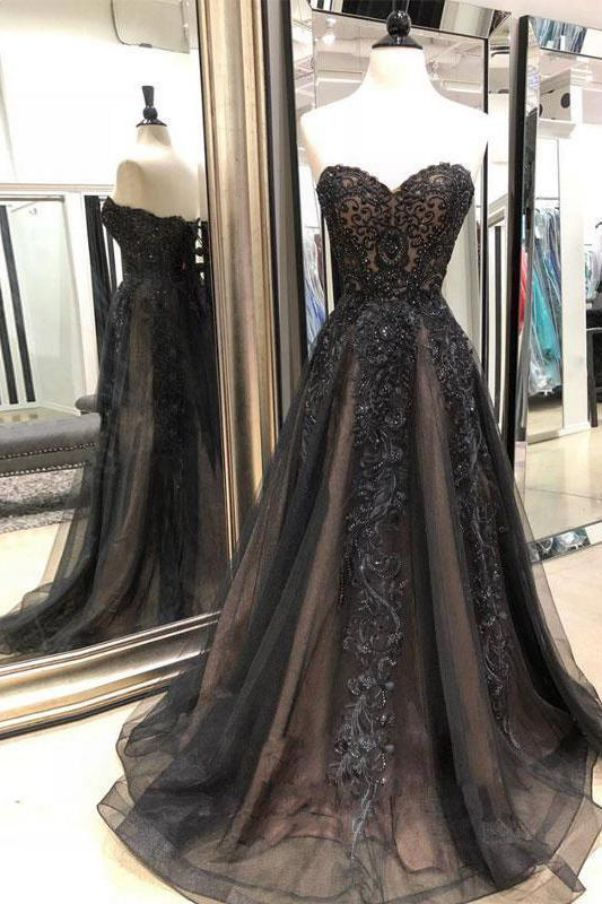 Black Wedding Dress Lace Brides Beautiful Strapless