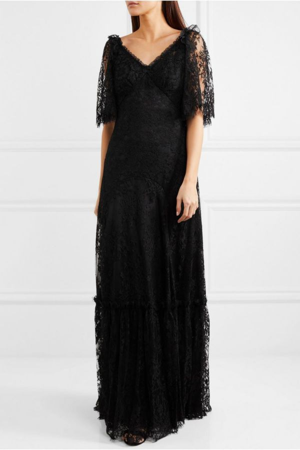 Black Wedding Dress Lace Brides Vintage Bridal Gowns