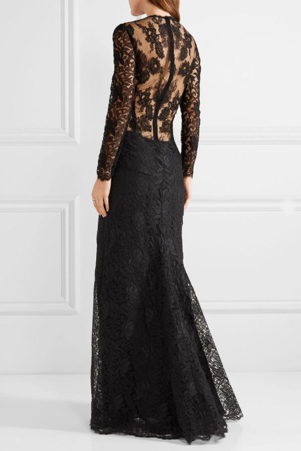 Black Wedding Dress Lace Gowns Long Sleeve