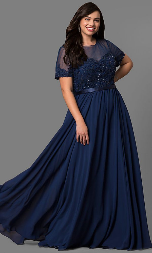 Blue Navy Plus Size Evening Dresses For Special Occasion
