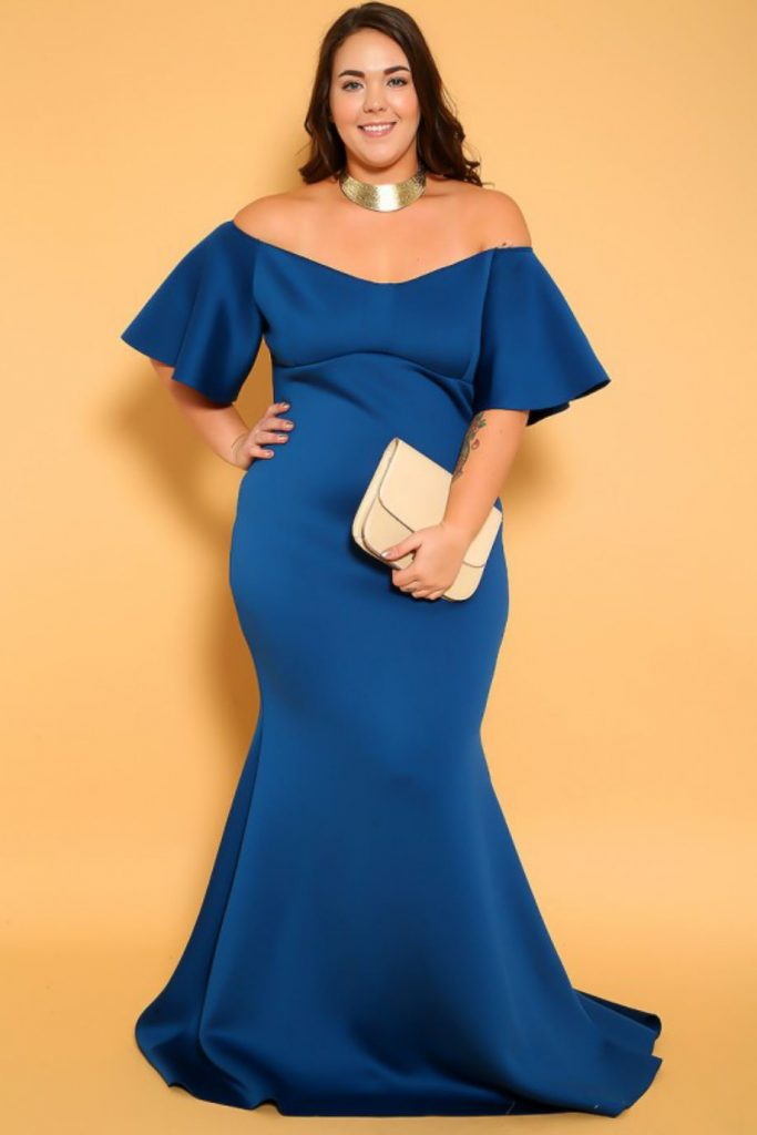 Blue Off the Shoulder with Mermaid Skirt Gown Plus Size