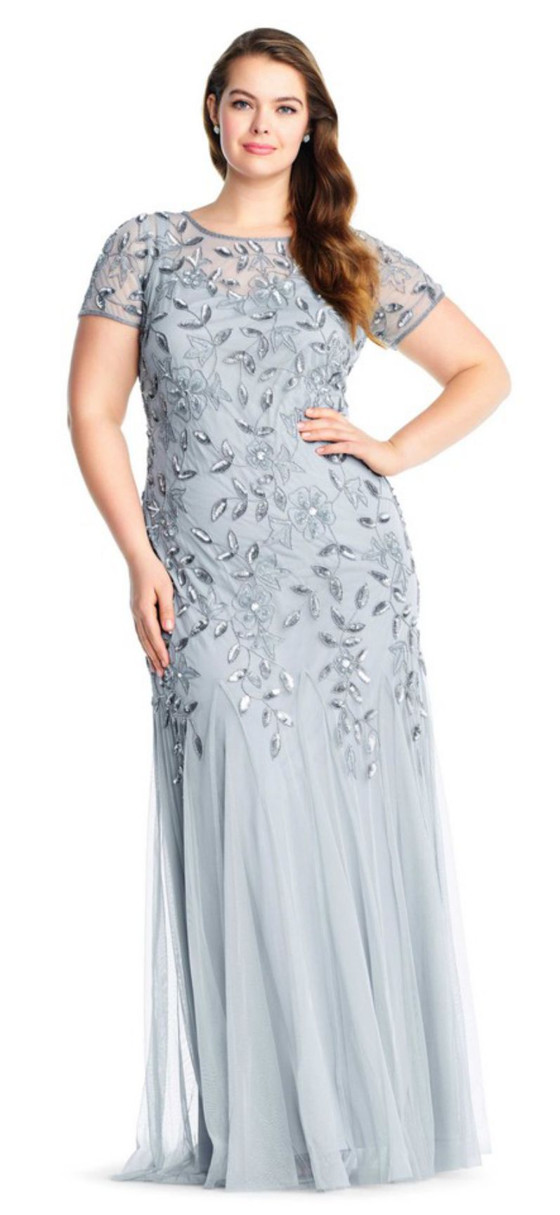 Blue Sky Floral Beaded Godet Gown Plus Size
