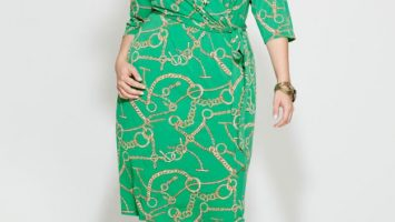 Body Wrap Dress in Green Plus Size