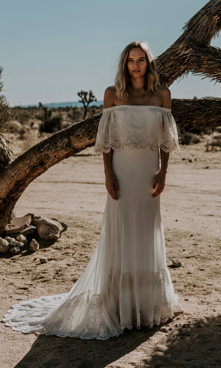 Bohemian Wedding Dress Off The Shoulder Crochet Lace
