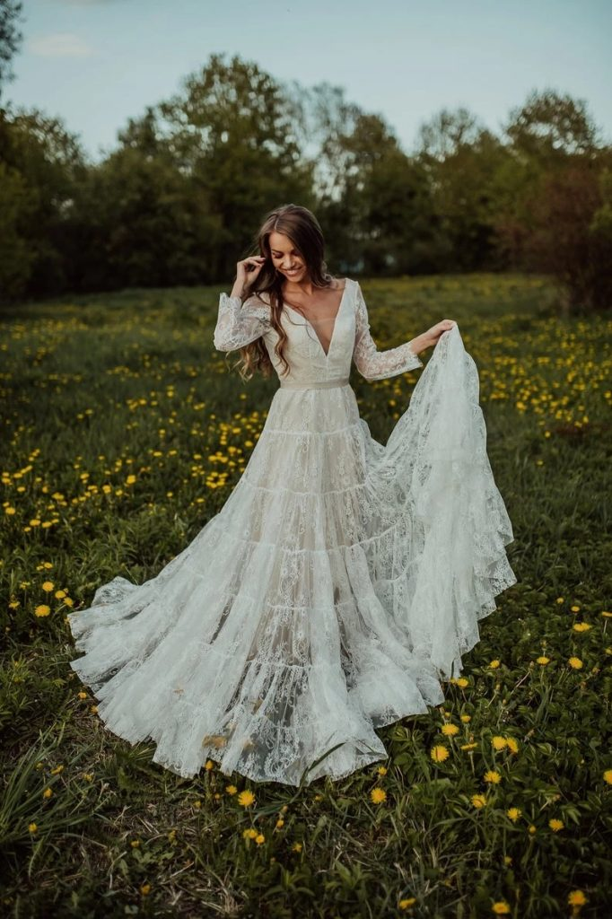 Bohemian Wedding Dress With Sleeves Bridal
