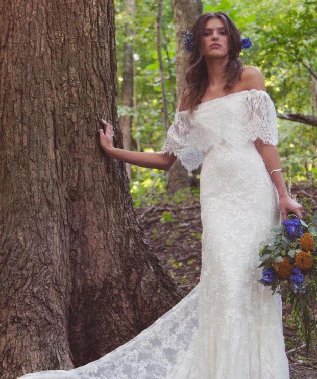 Boho Wedding Dresses Boho Off Shoulder Sheath Scalloped Wedding Dress